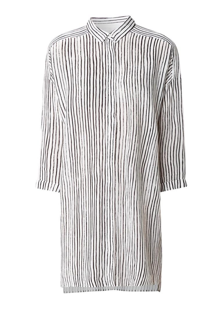InWear Galetta lange blouse met streepdessin blauw