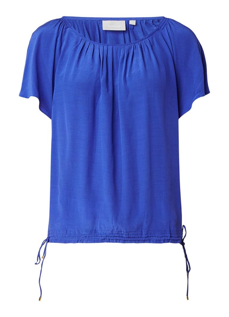InWear Gemma boxy top met korte vlindermouw blauw