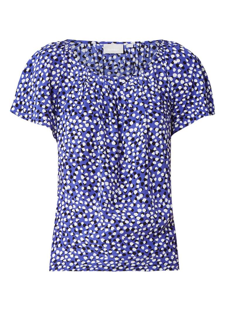 InWear Gemma top met gestipt dessin blauw