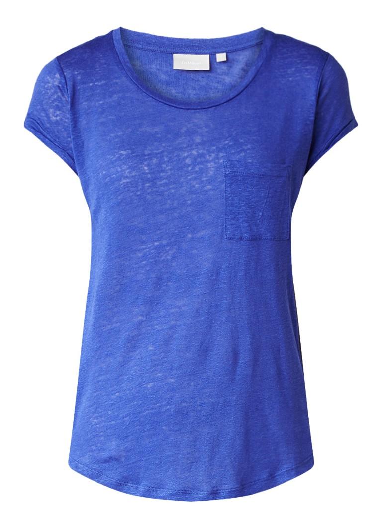 InWear Vuzima top van linnen met borstzak blauw