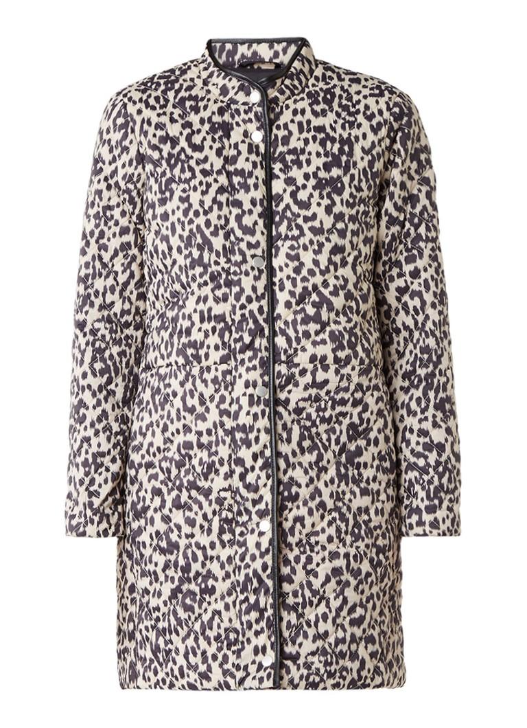 InWear Zaria gewatteerde jas met luipaarddessin blauw