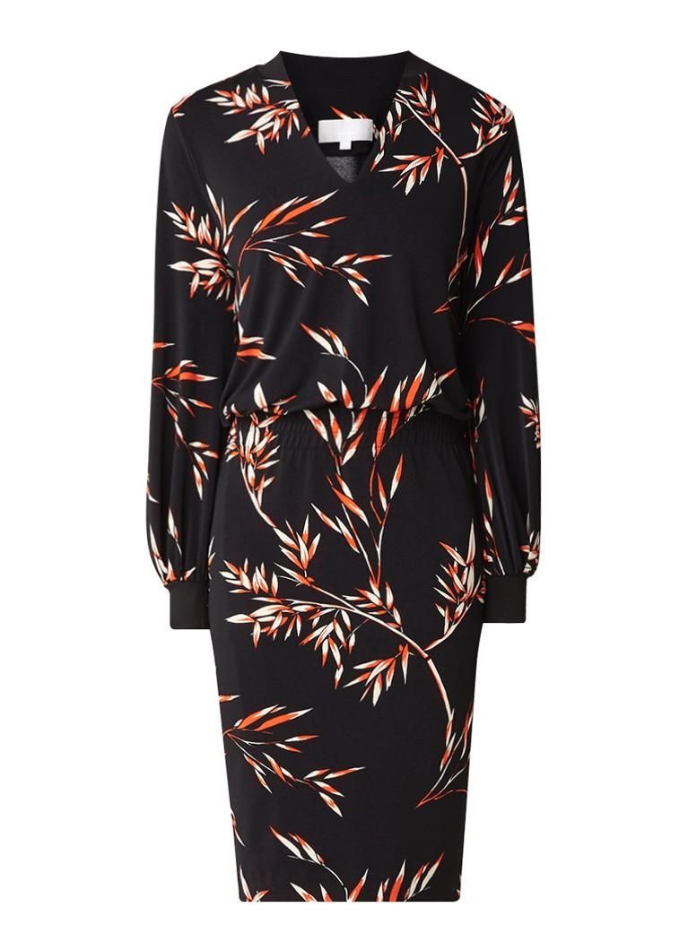 InWear Weronika midi-jurk met bladdessin zwart