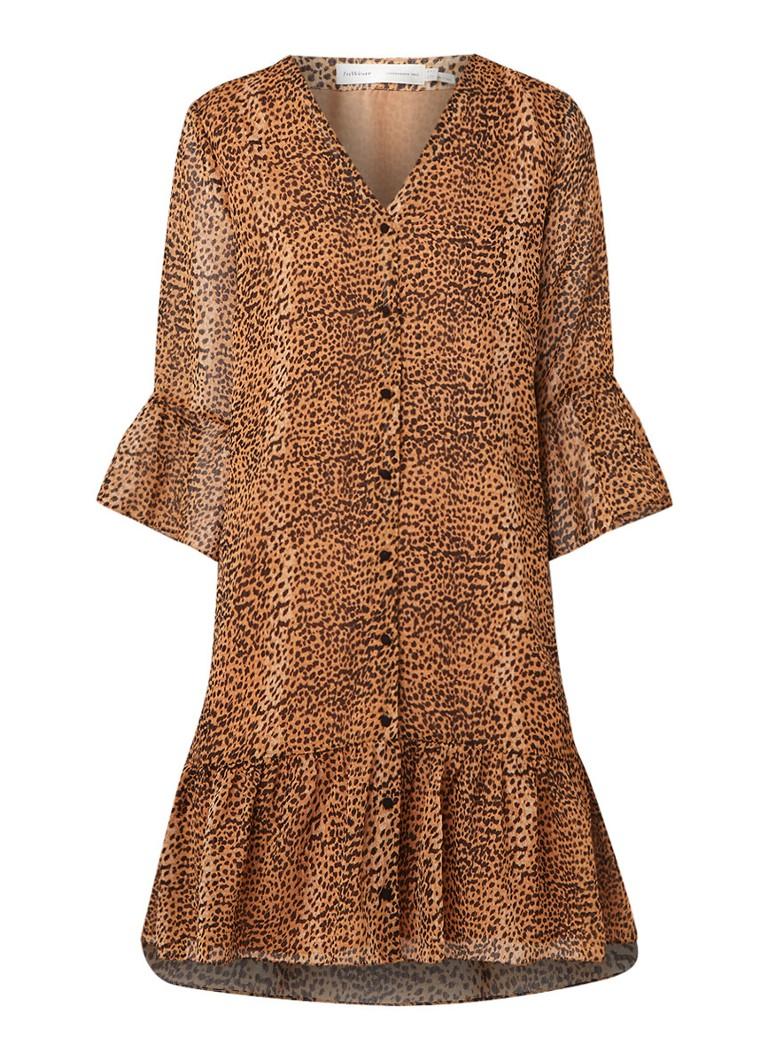InWear Tanyai blousejurk met luipaarddessin lichtbruin