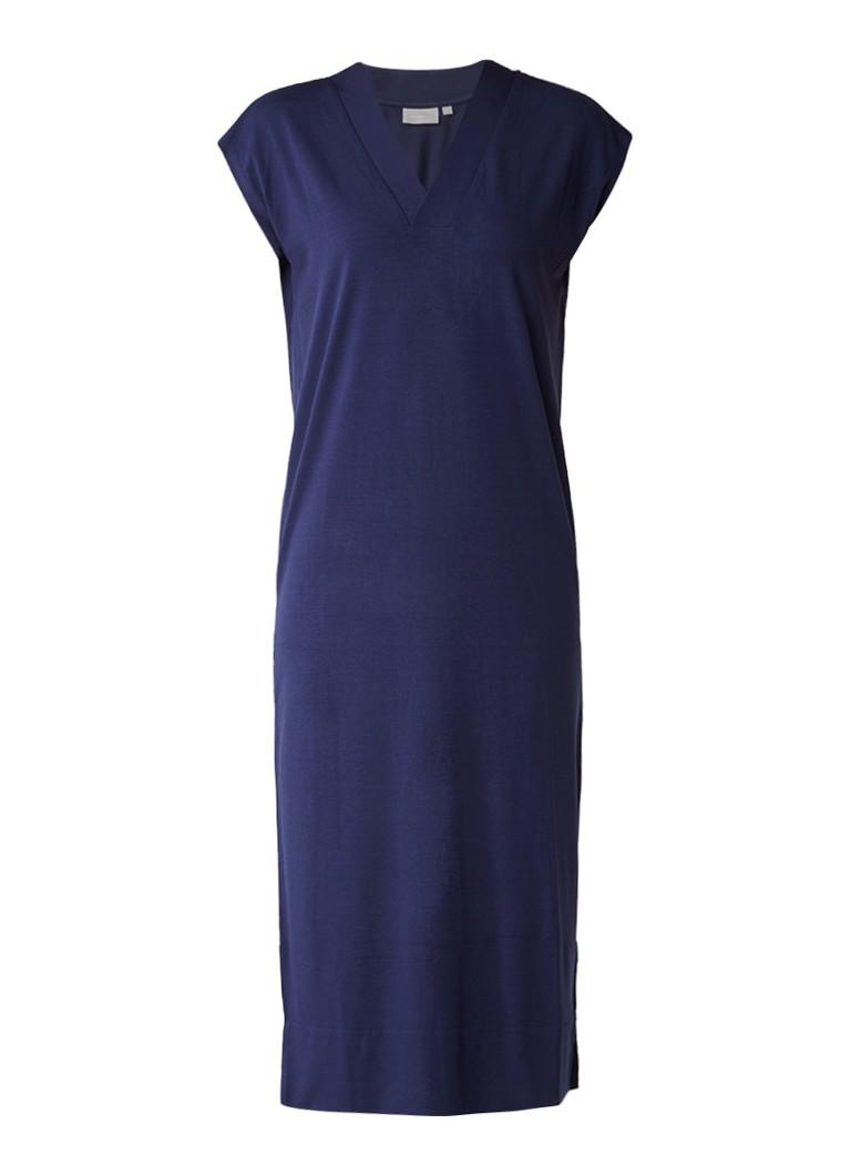 InWear Cybel midi-jurk met V-hals donkerblauw