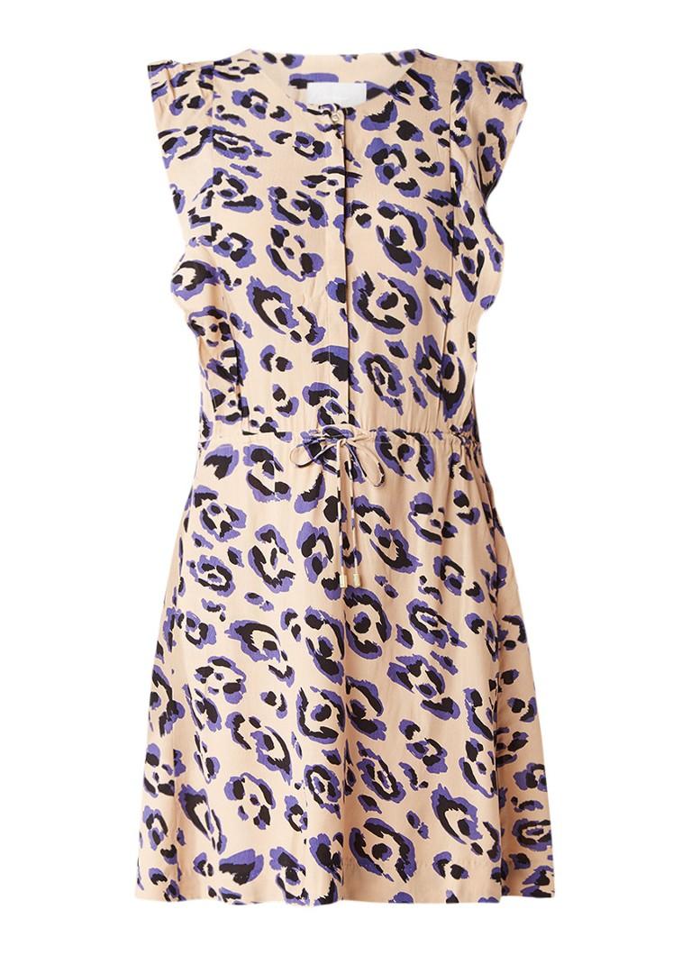 InWear Bashai jurk met trekkoord en luipaarddessin beige