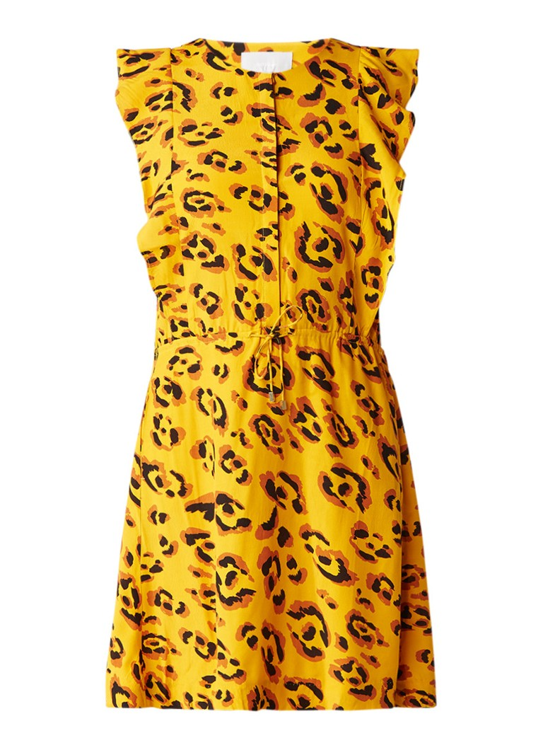 InWear Bashai jurk met volant en tunnelkoord okergeel