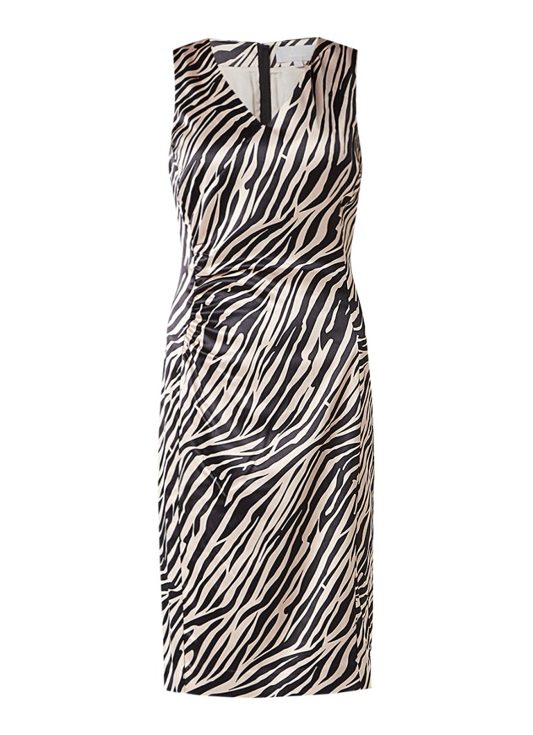 InWear Aliciana jurk van satijn met zebradessin beige