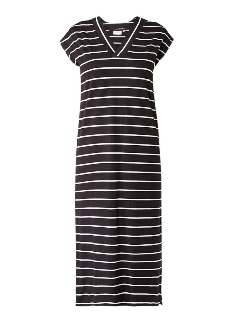InWear Cybel maxi-jurk met V-hals en streepdessin zwart