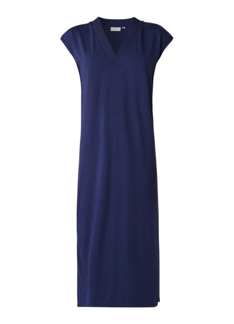 InWear Cybel jersey midi-jurk met V-hals middenblauw