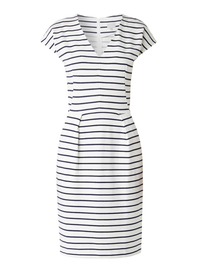 InWear Canan midi-jurk met streepdessin en steekzakken gebroken wit