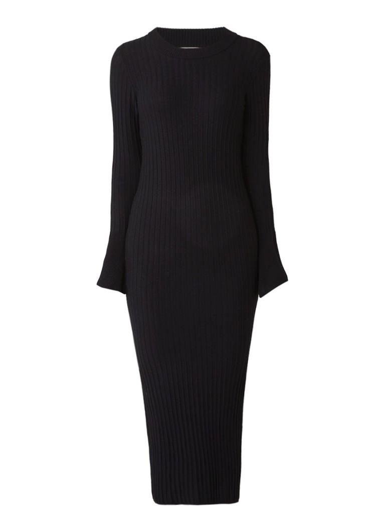 InWear Naoko ribgebreide maxi-jurk zwart