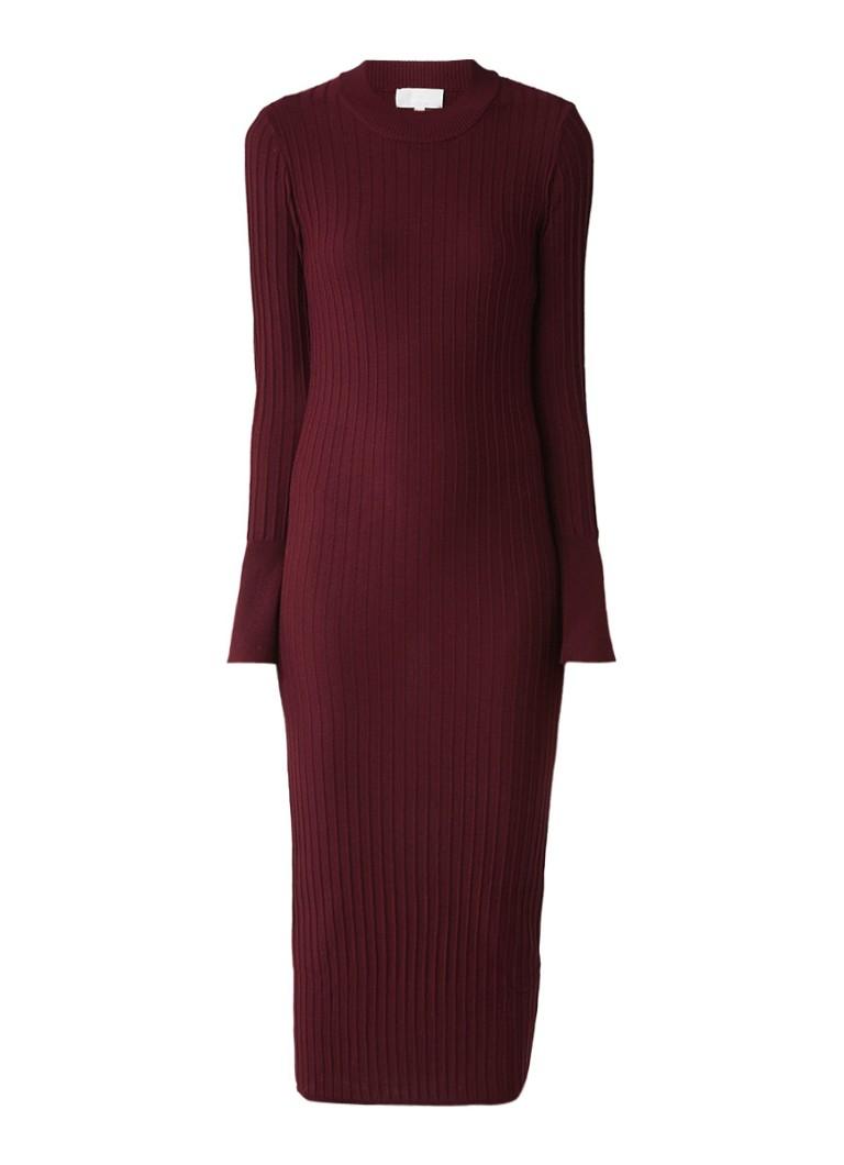 InWear Naoko ribgebreide maxi-jurk bordeauxrood