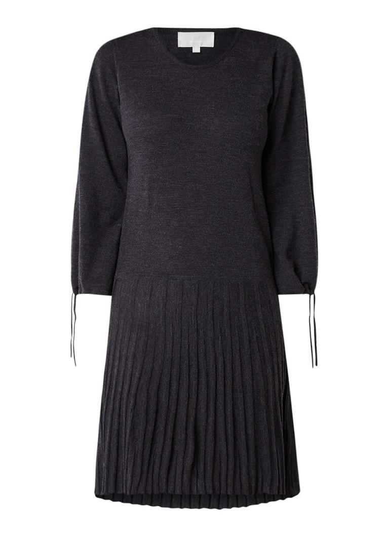 InWear Neo losvallende jurk met ribgebreide onderzijde donkergrijs