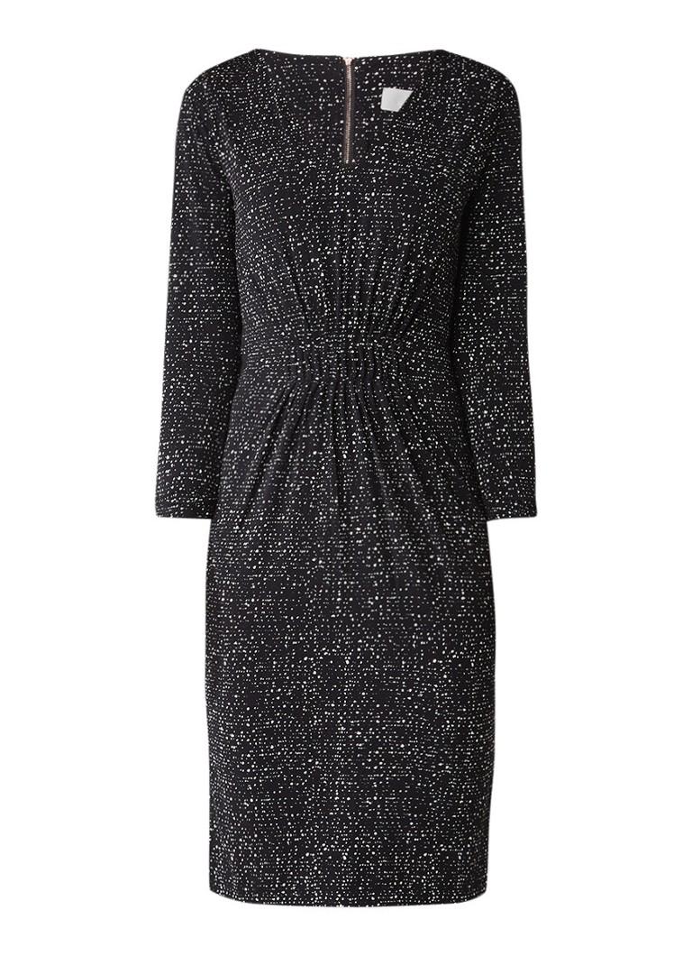 InWear Netti midi-jurk met geplooide details en stippendessin zwart