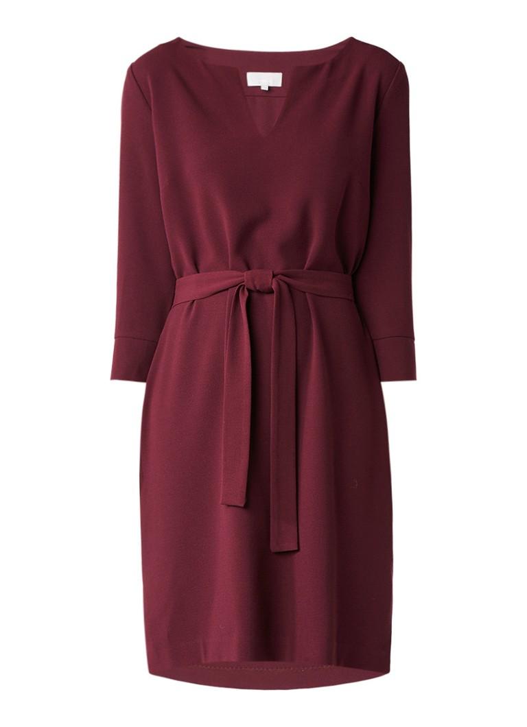 InWear Lali midi-jurk met strikceintuur aubergine