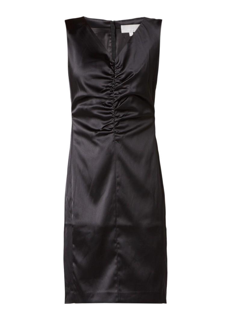 InWear Cairo midi-jurk van satijn met rimpeldetail zwart