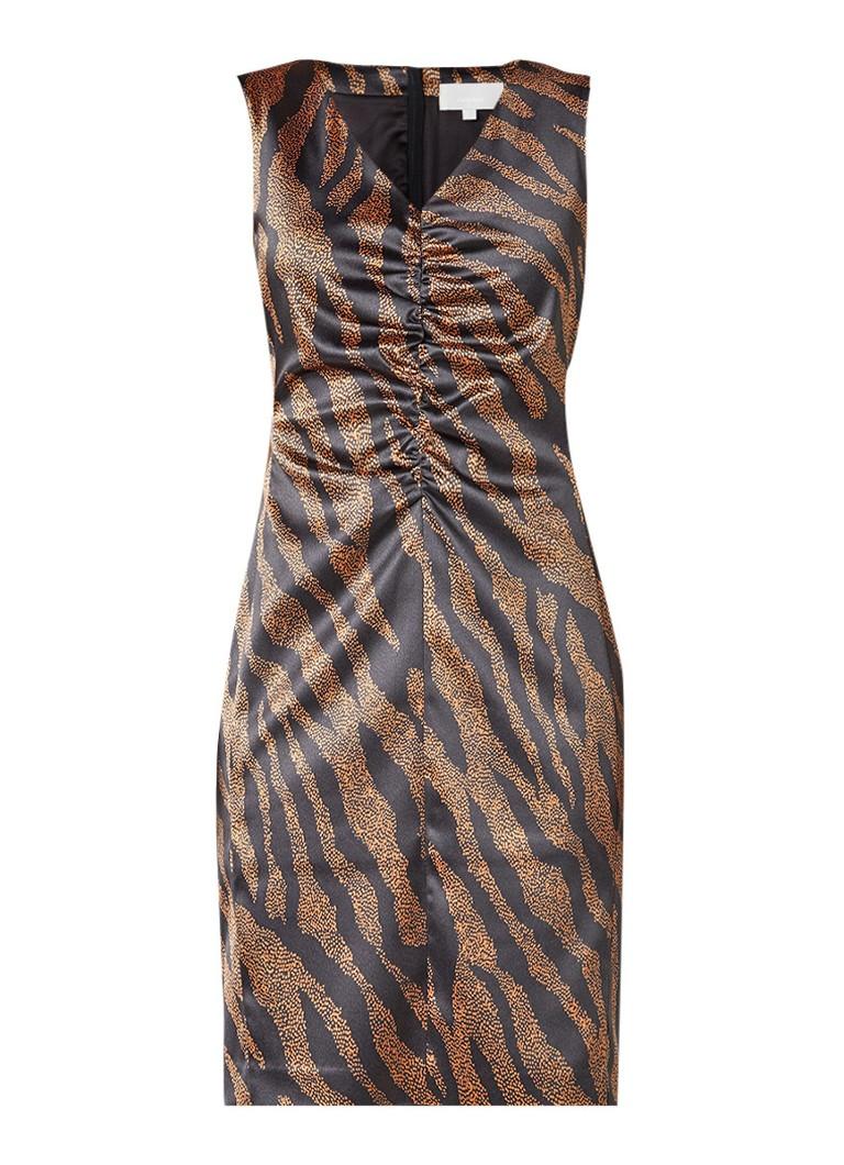 InWear Cairo jurk met animal dessin en plooidetail bruin