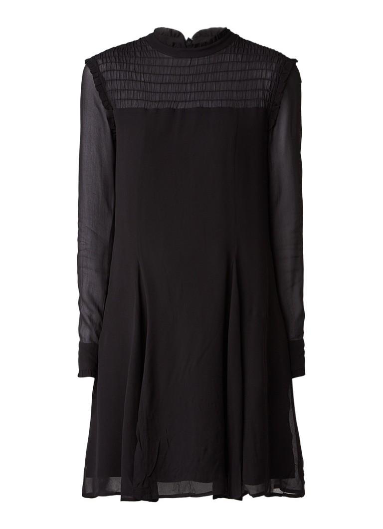 InWear Patrice midi-jurk van kant met contrastvoering zwart
