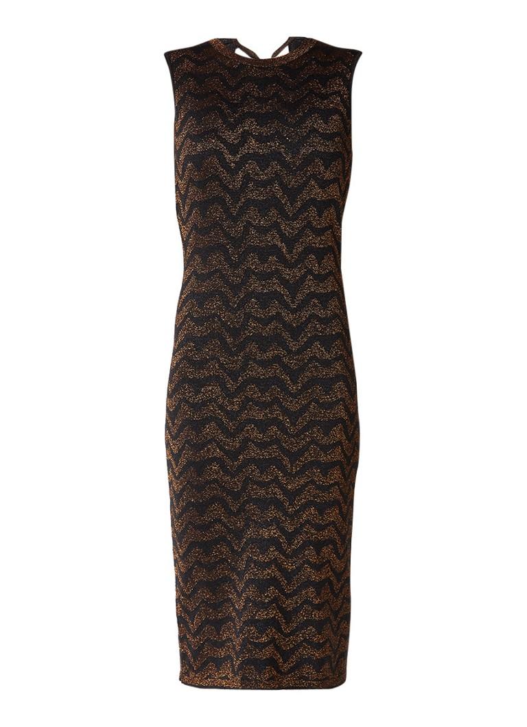 InWear Obelia fijngebreide jurk met lurex zigzag-dessin koper