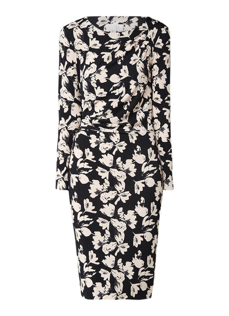 InWear Trude kokerjurk met draperie detail en bloemendessin zwart
