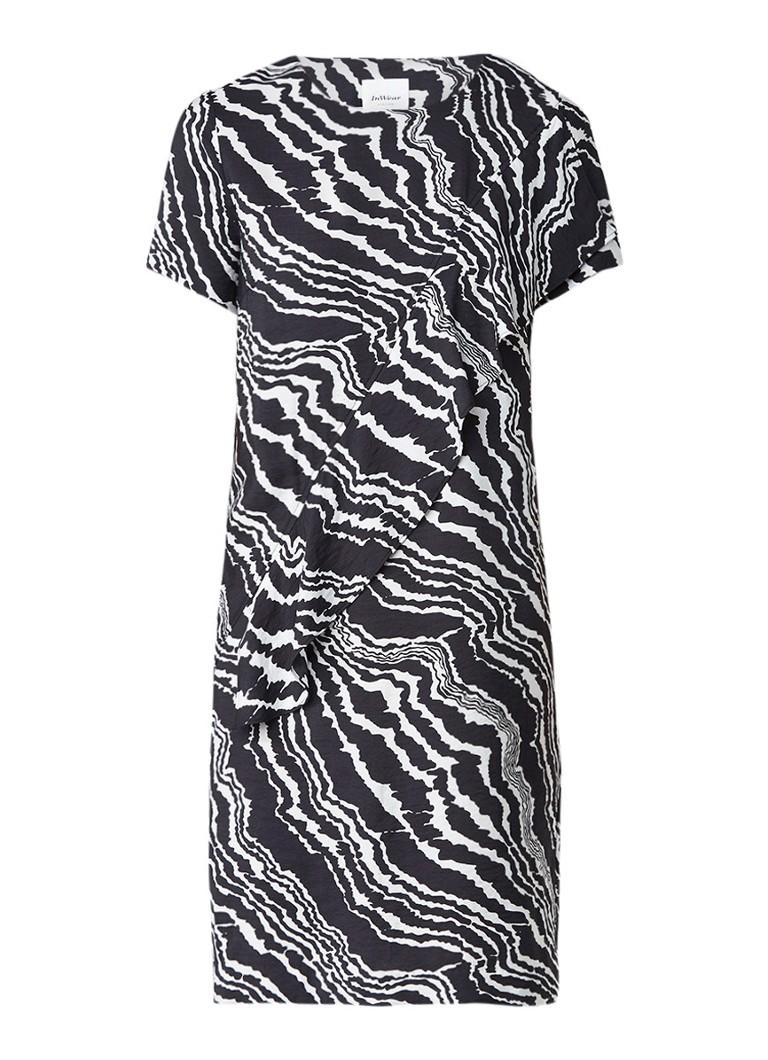 InWear Piritta midi-jurk met volant en dessin zwart