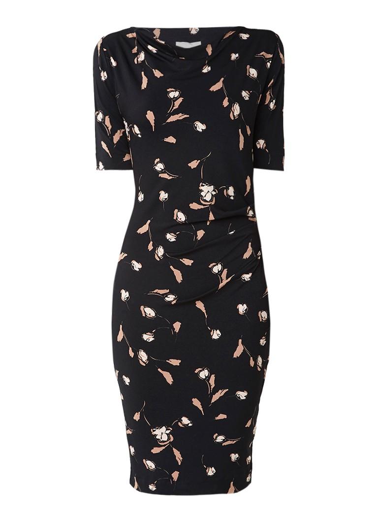 InWear Tebina jurk met bloemendessin en draperie zwart