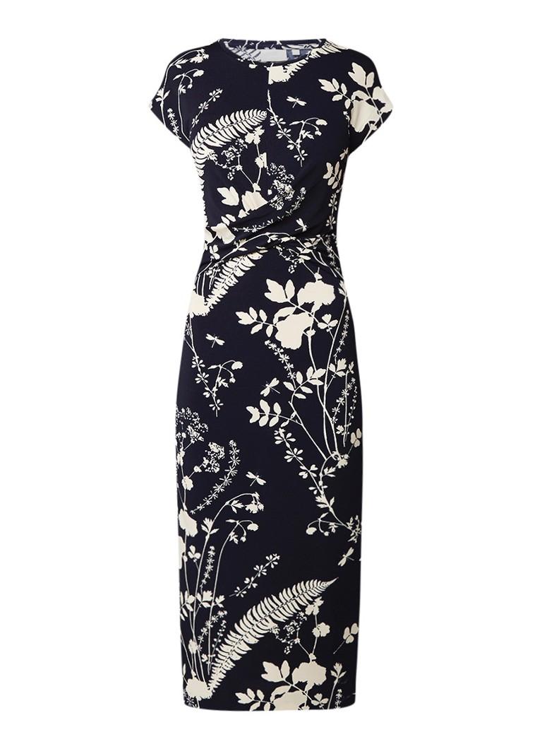 InWear Azni midi-jurk met gedraaid detail en bloemendessin donkerblauw