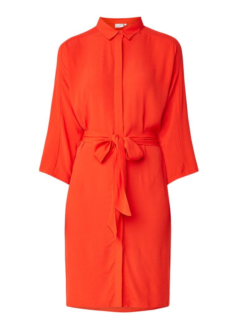 InWear Subira blousejurk met strikceintuur oranjerood