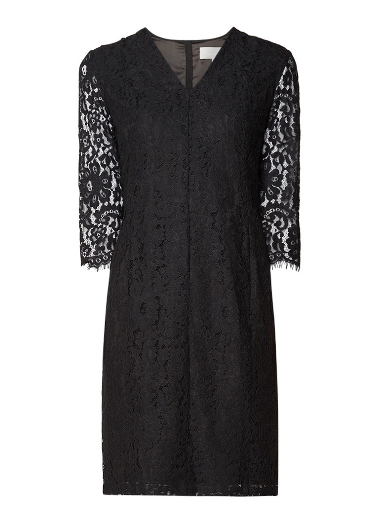 InWear Zada getailleerde midi-jurk van kant zwart