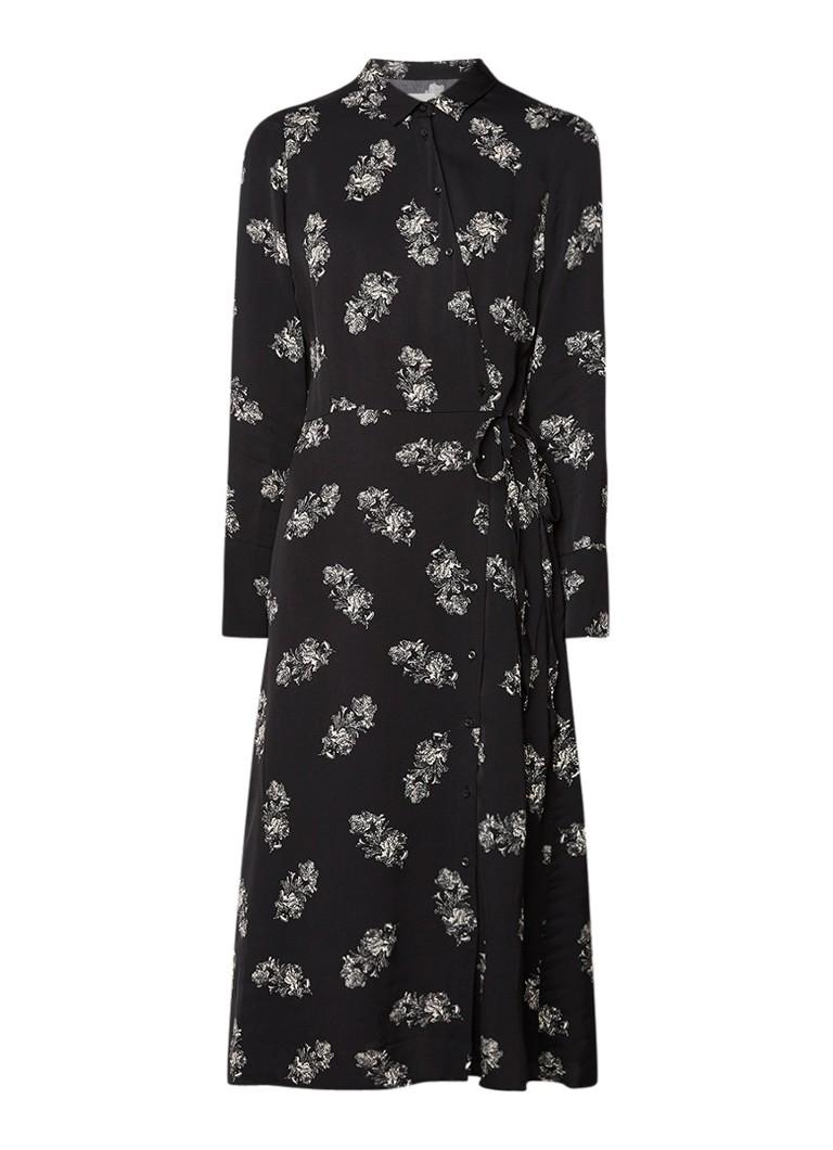 InWear Elena midi blousejurk met bloemendessin zwart