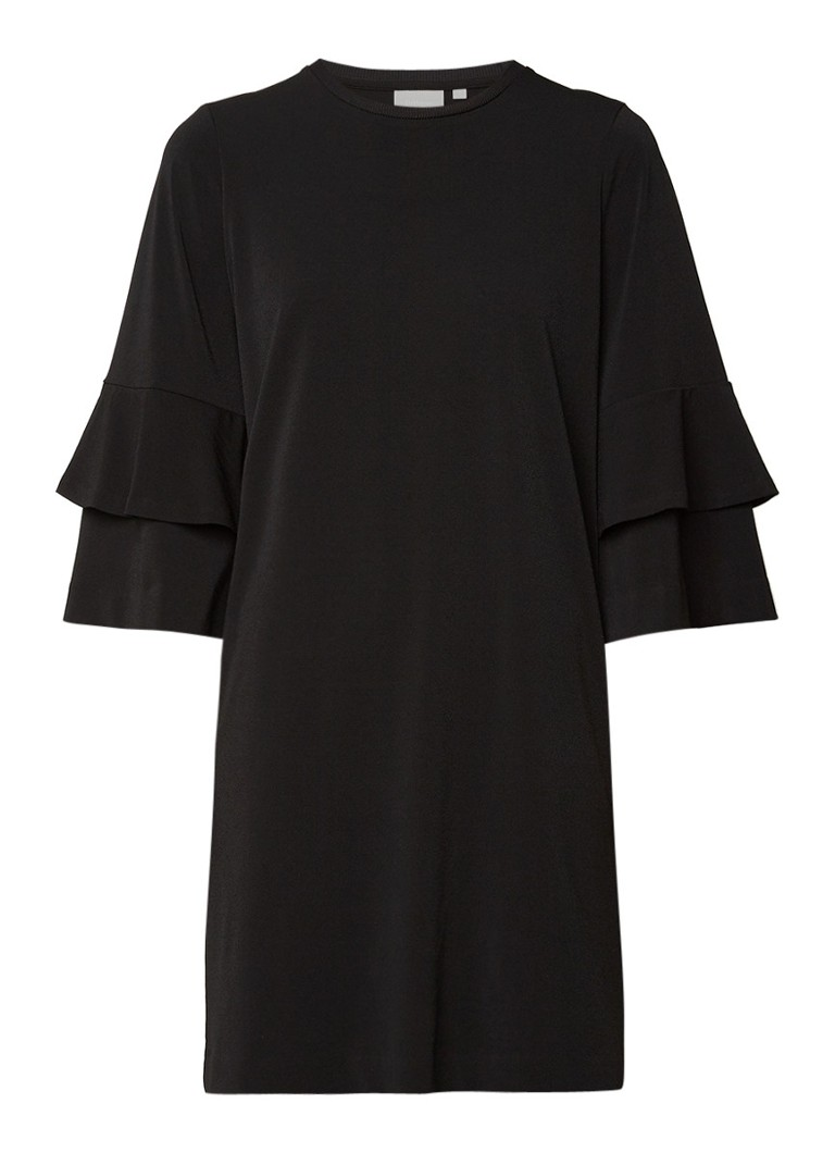 InWear Felixa Flounce midi-jurk met driekwarts volantmouw zwart