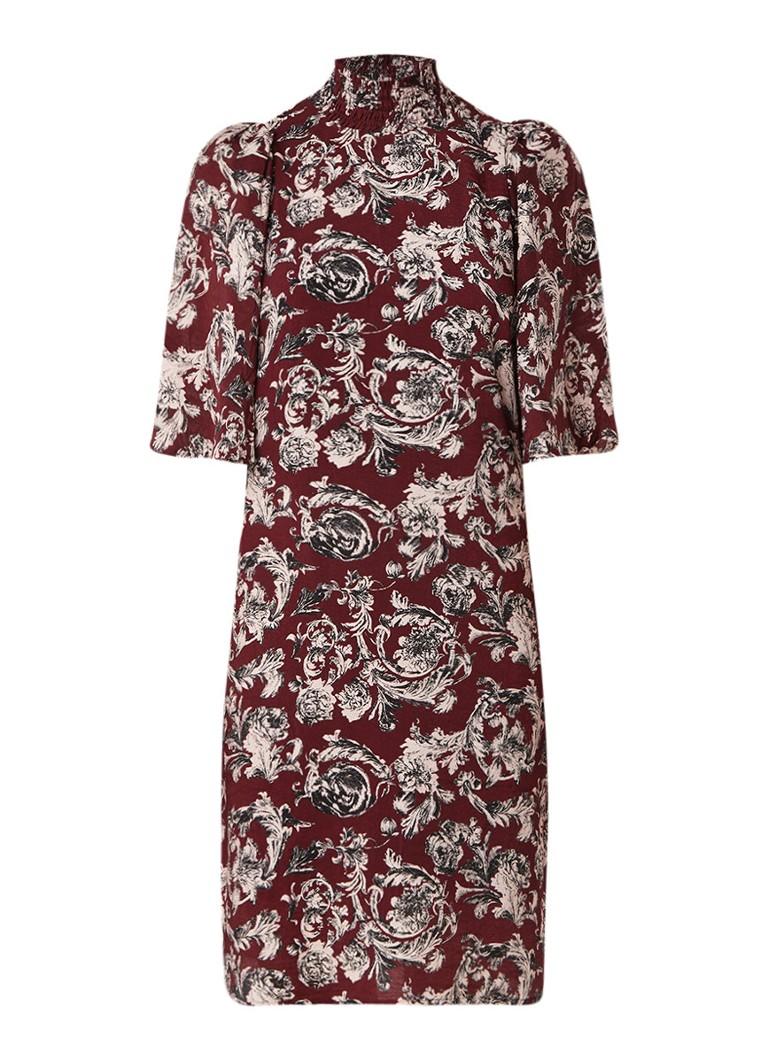 InWear Eluka loose fit midi-jurk met bloemendessin en col bordeauxrood