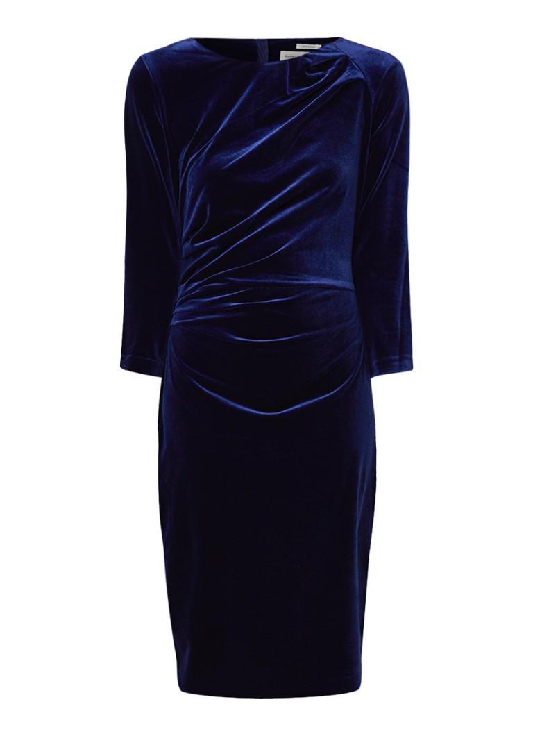 InWear Nisas kokerjurk van fluweel met smock detail royalblauw
