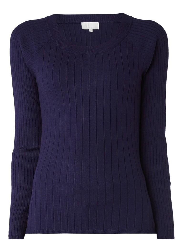 InWear Yazz ribgebreide pullover met ronde hals blauw