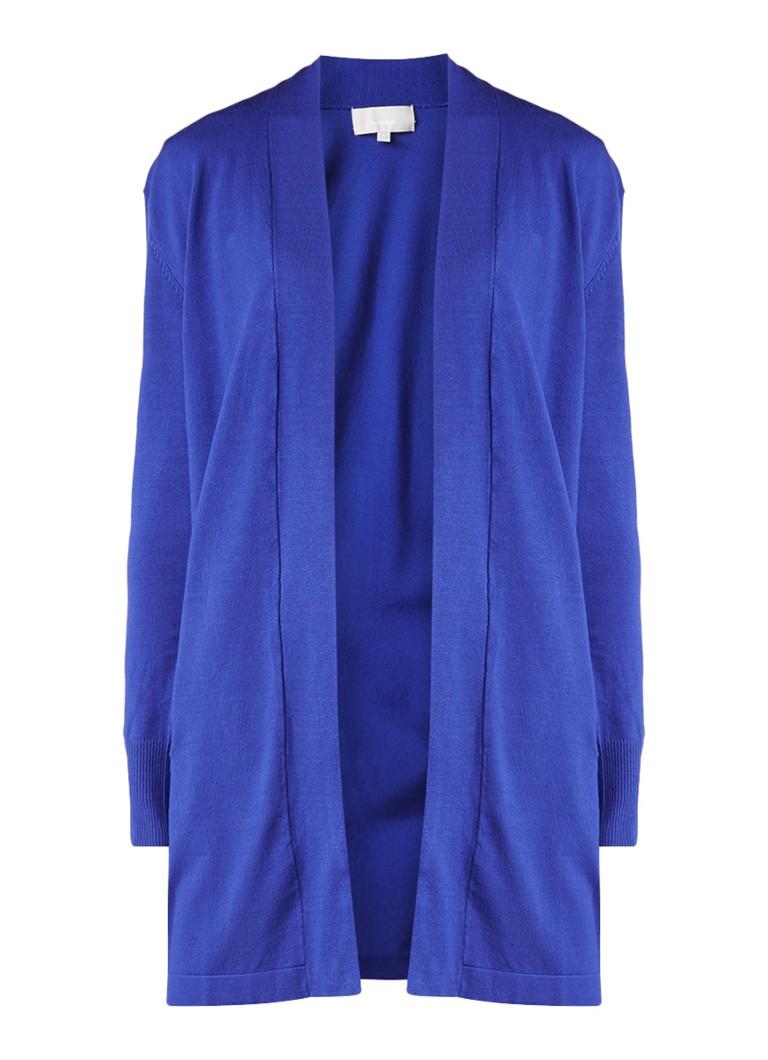InWear Openvallend vest met paspelzakken blauw
