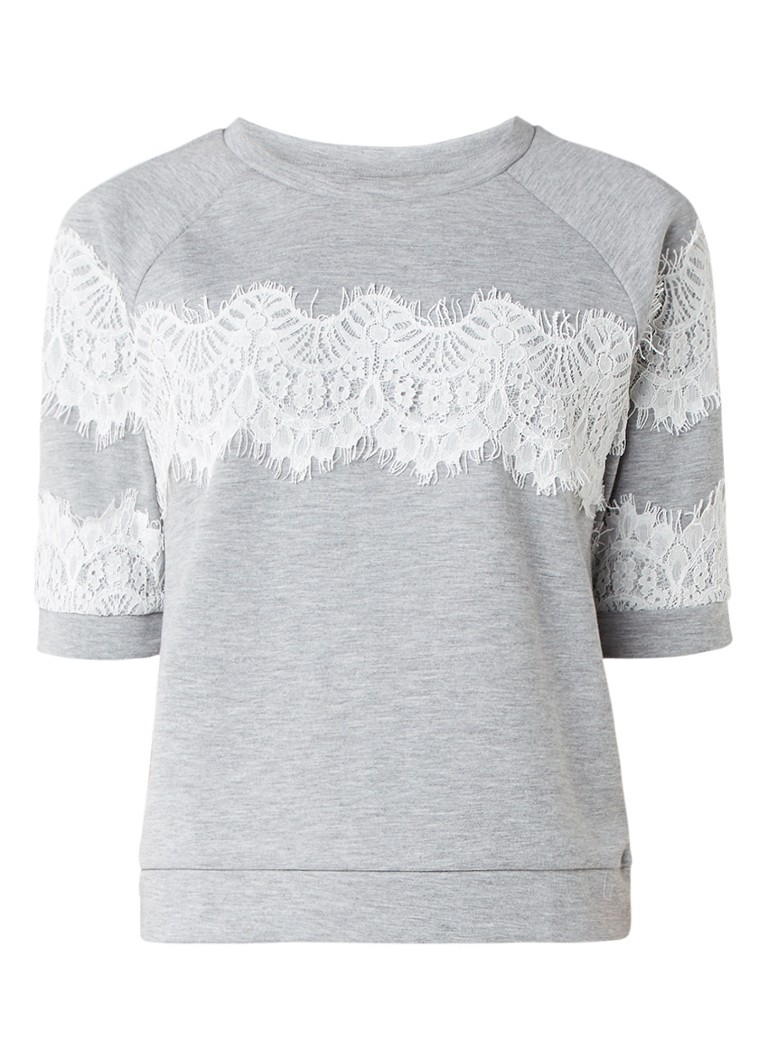 InWear Yulia sweater met kanten details blauw