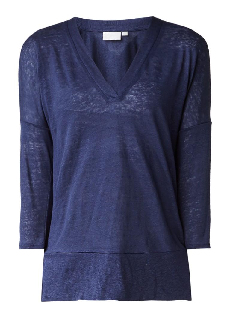 InWear Yori oversized top van linnen blauw