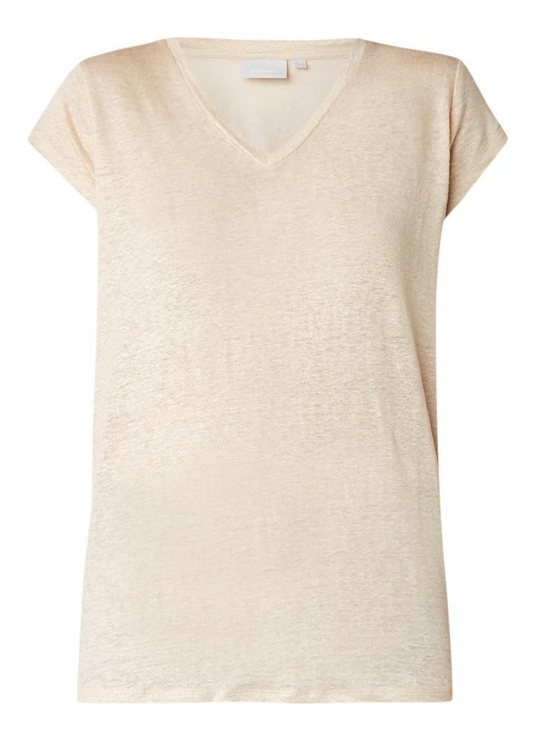 InWear Caurals T-shirt van linnen met lurex blauw