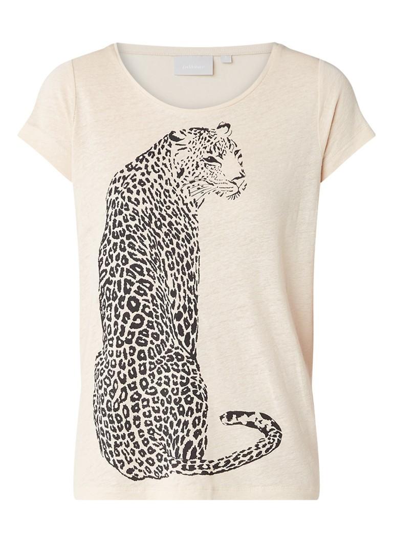 InWear Yudif T-shirt met luipaard opdruk blauw