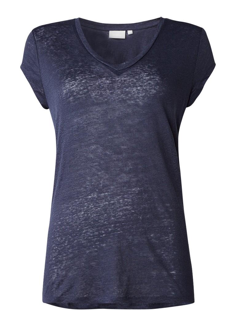 InWear Caurals T-shirt van linnen blauw