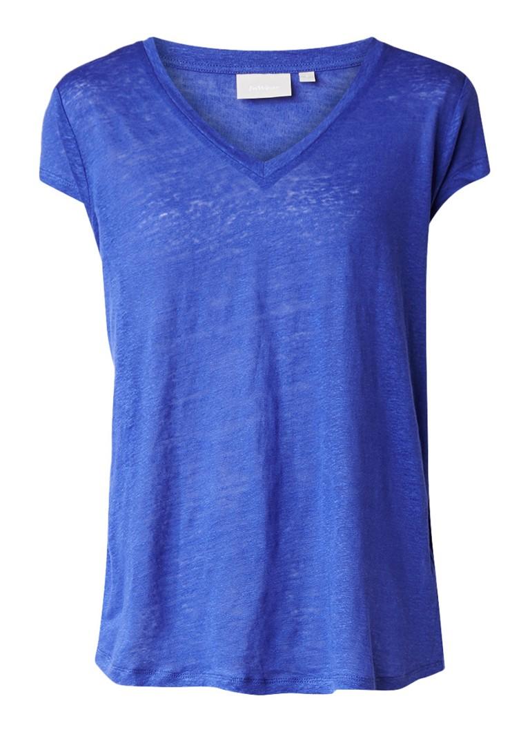 InWear T-shirt van linnen met V-hals blauw