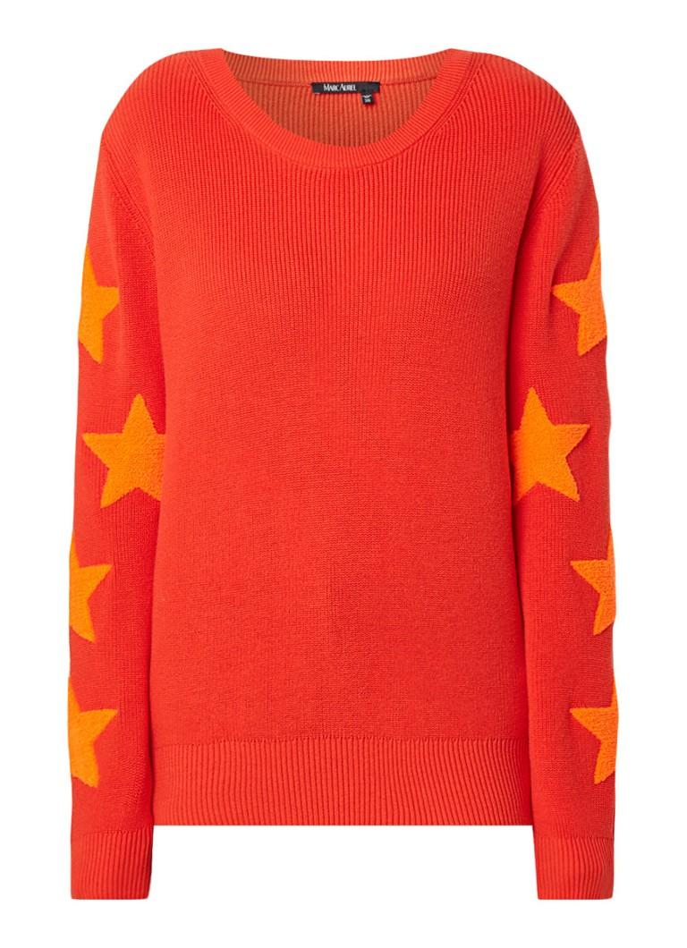 Marc Aurel Fijngebreide pullover met sterrenpatch