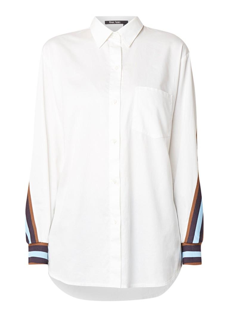Marc Aurel Hori blouse van katoen met streepdetail