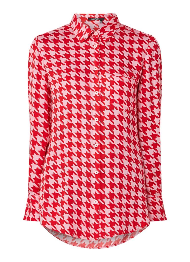 Marc Aurel Loose fit blouse met pied-de-poule dessin
