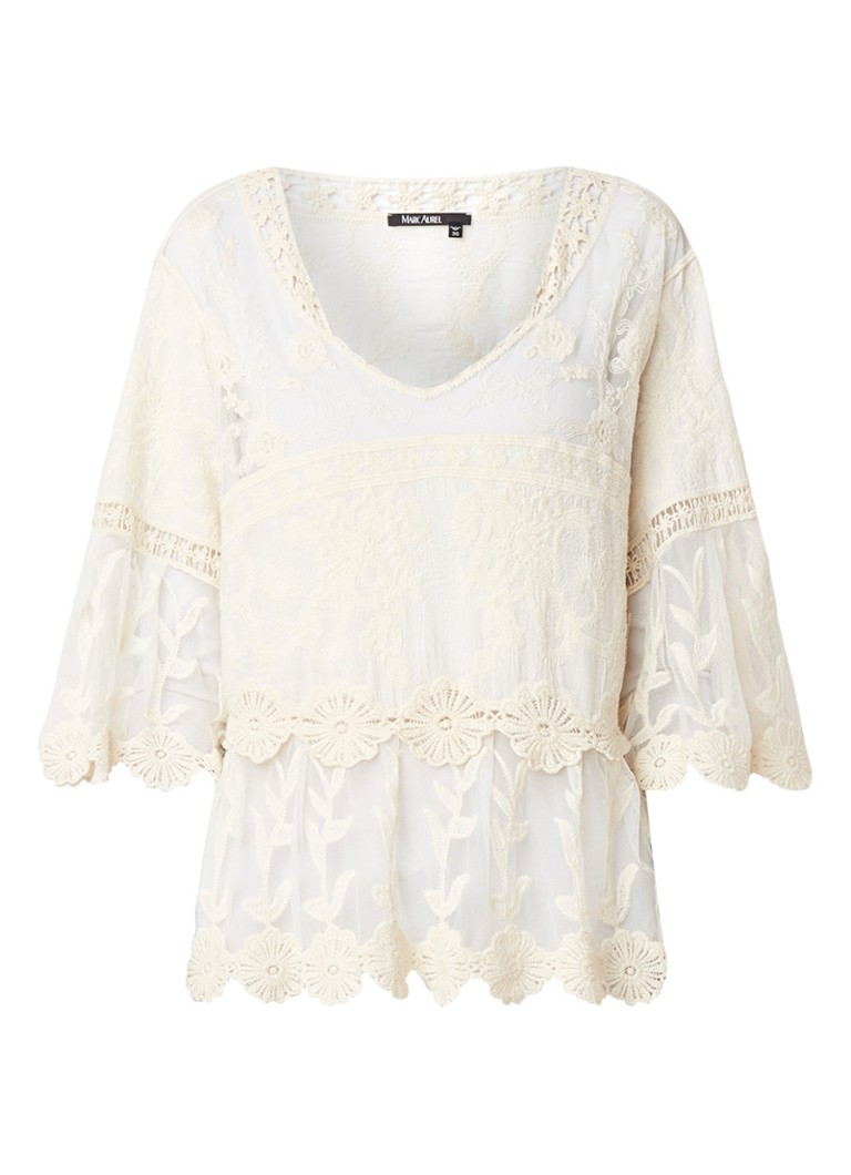 Marc Aurel Loose fit top van kant met broderie