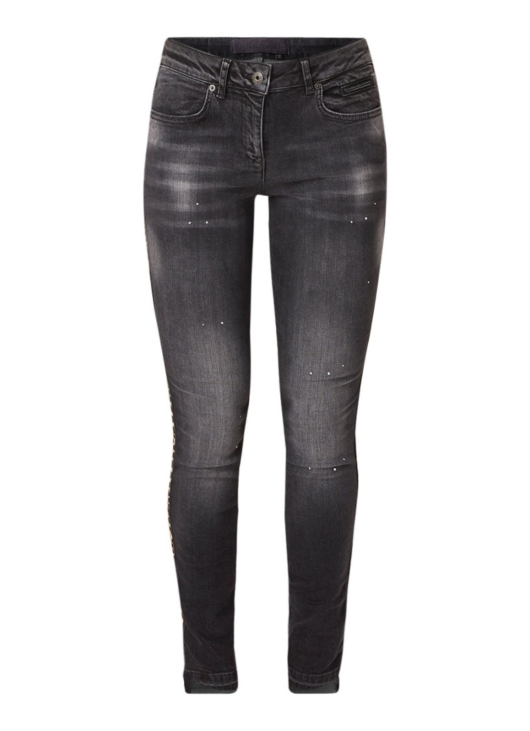 Marc Aurel High rise skinny fit jeans met gerafelde zoom en contrastbies