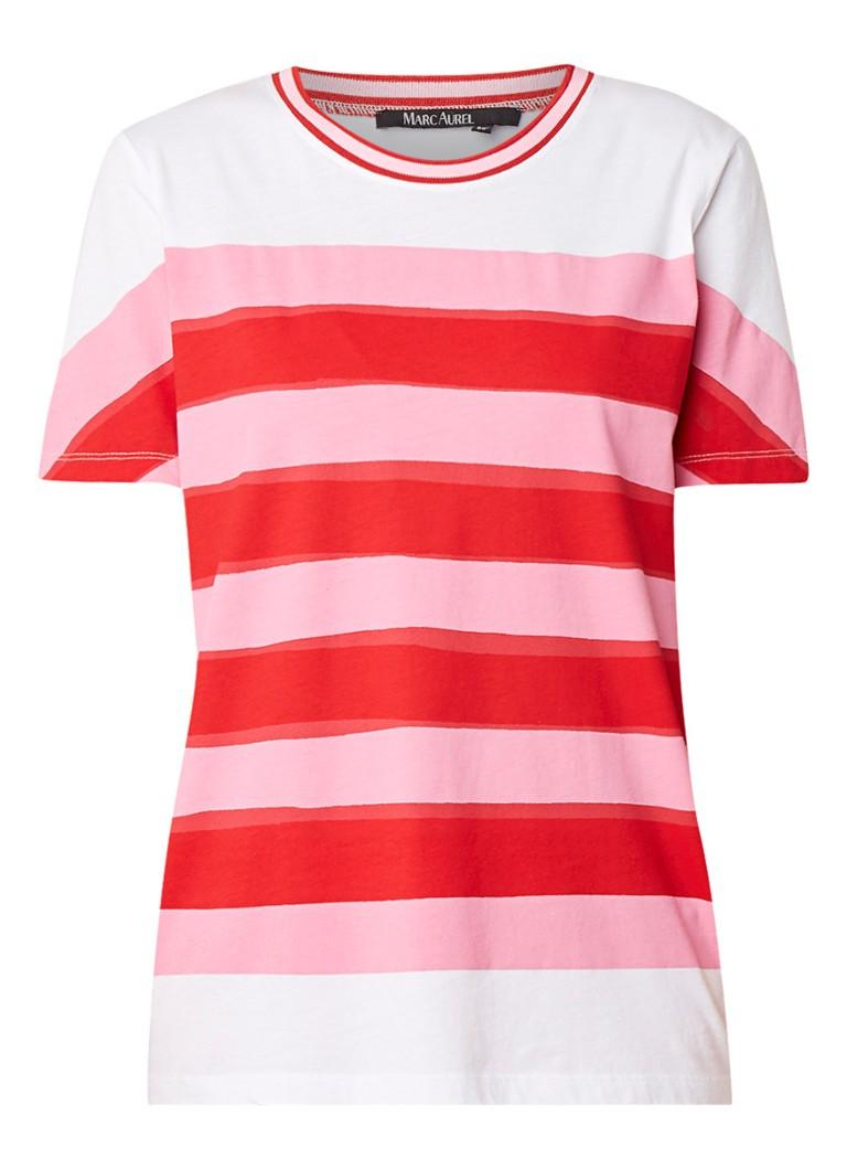 Marc Aurel T-shirt van katoen met streepdessin