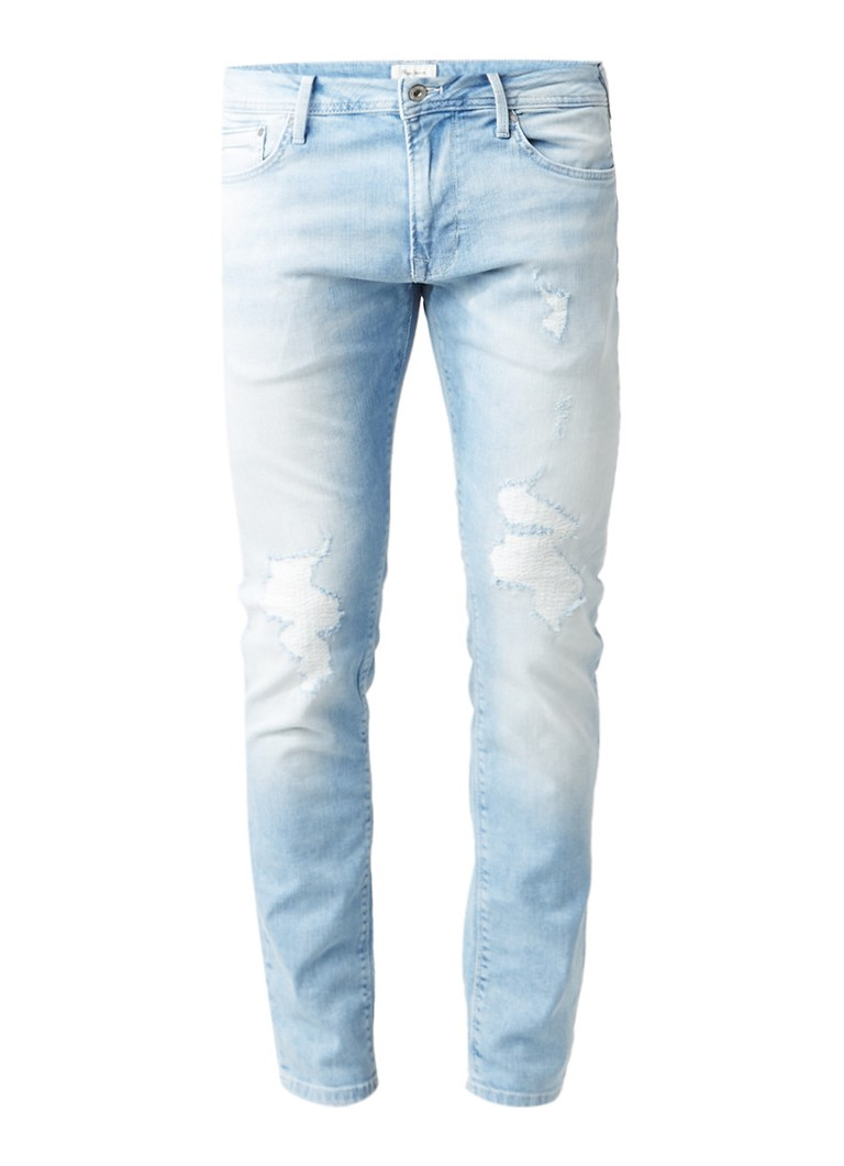 Pepe Jeans Stanley mid rise tapered fit jeans met destroyed details