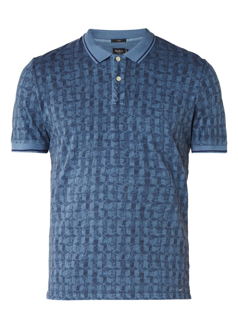 Pepe Jeans Malus slim fit polo met abstract dessin