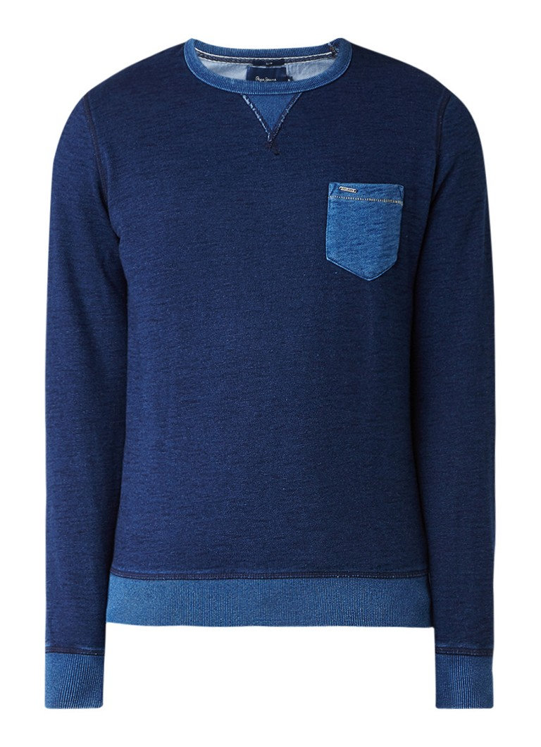 Pepe Jeans Sweater met borstzak in denim look